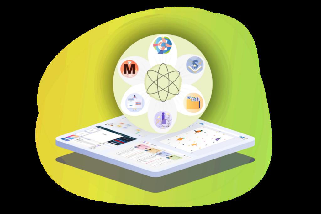 Logoen til alle de fire learnlab applikasjonene og biblioteket på et nettbrett